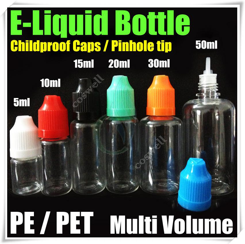 E líquido Vazio Agulha Garrafas PE PET à prova de criança tampas pinhole dica multi volume de Plástico Agulha Conta-gotas eGo e cig cigs Cigarros Eletrônicos