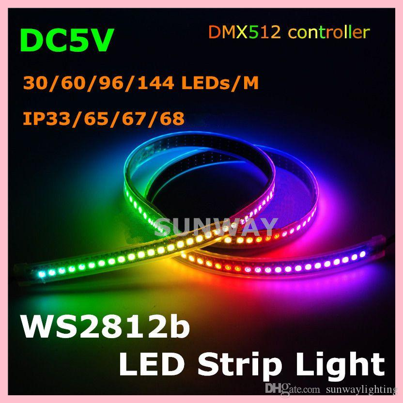 5M 300pixels Waterproof Digital LED Strip Lights WS2812B Built In IC 5050  SMD Individually Addressable RGB Full Color LED Strip 5V 5v Led Strip  Striplights ...