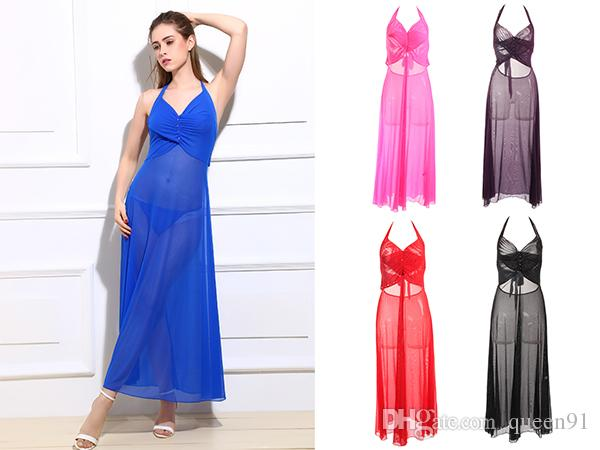 Women Sexy Lingerie Sleepwear See Through Mesh Long Dress Nightwear
