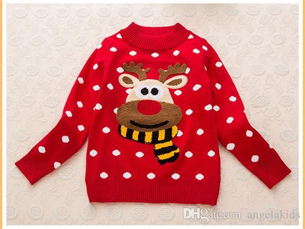 Bambini Natale neve alce inverno nuove ragazze in cotone rosso che basa a maniche lunghe maglione maglione cappotto cappotto bambini
