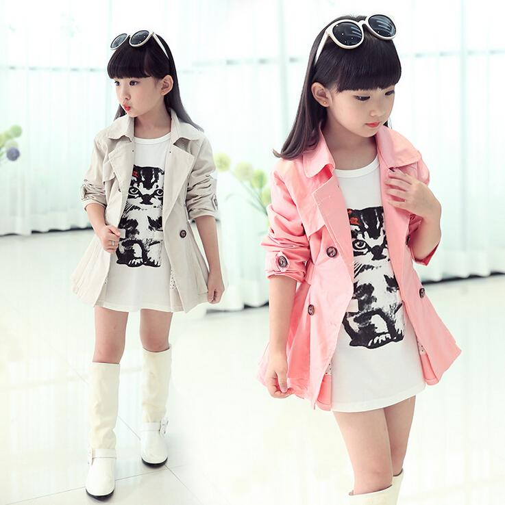 2015 New Korean Children Tench Coats Princess Girls Coat ...