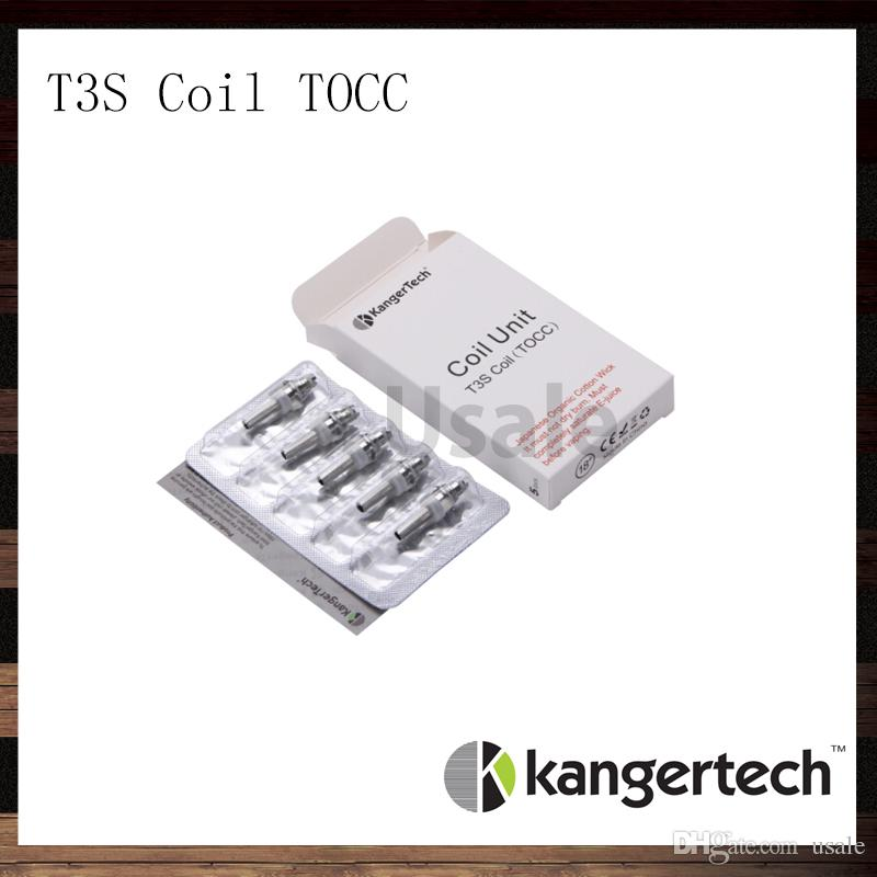 Kanger T3S Coil Unit TOCC Kangertech T3S CC Clear Cartomizer Replacement Coils Head 1.5 1.8 2.2 2.5 ohm Coils For T3S Atomizer 100% Original