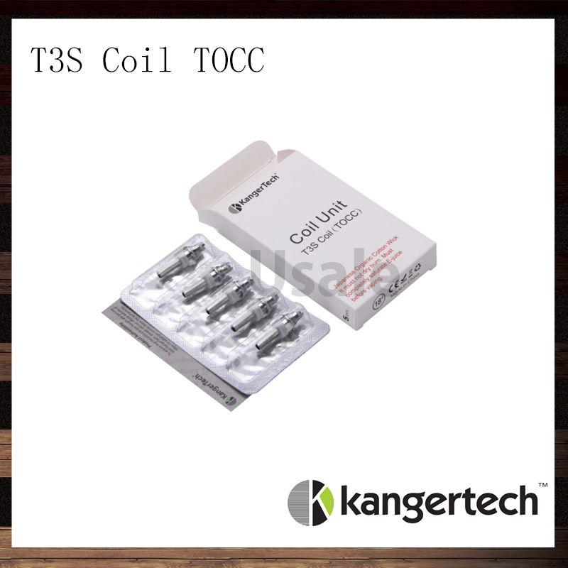 Kanger T3S 코일 유닛 TOCC Kangertech T3S CC Clear Cartomizer 교체 코일 헤드 1.5 1.8 2.2 2.5ohm T3S 원자로 용 코일 100 % 원판