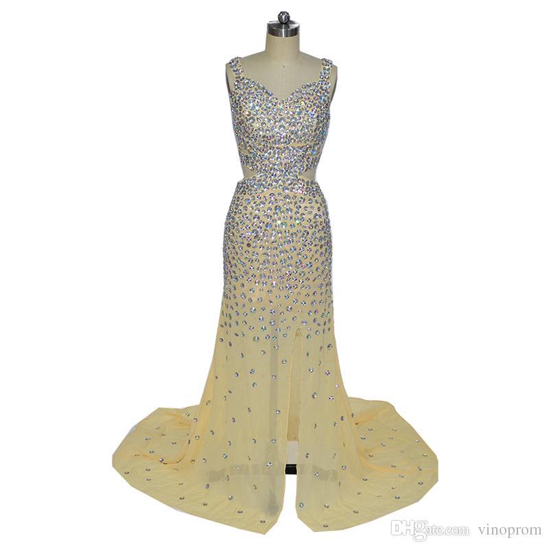 Vestidos Longos Para Perlen Formatura Mermaid Champagner Schatz Seitenschlitz Chiffon Perlen Abend Formale Kleid Kleider 2018