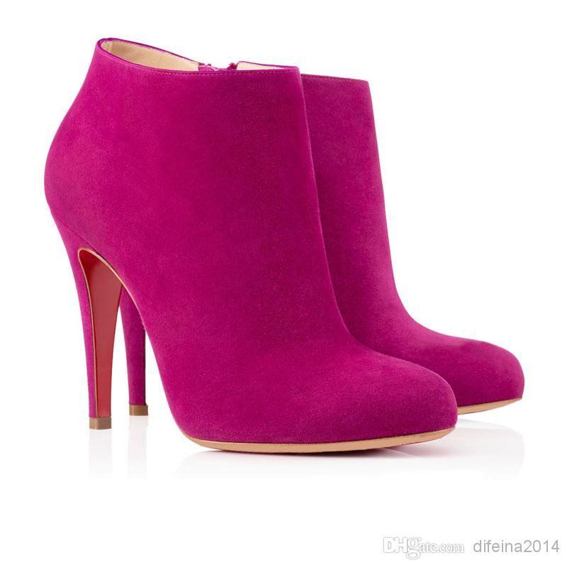 Hot Pink Ankle Boots Women Deerskin Ol Stilettos Heel Side Zipper ...
