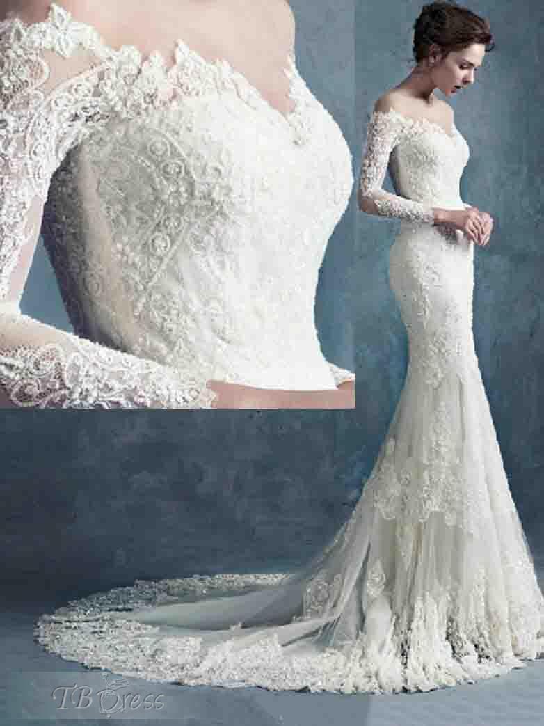 Cheap elegant wedding dresses off the shoulder court long for Cheap lace mermaid wedding dresses