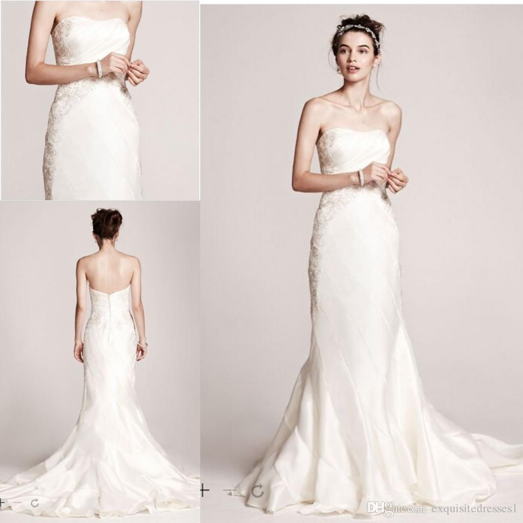 Mikado Wedding Gown: Cheap Elegant Wedding Dresses Strapless Mikado Mermaid