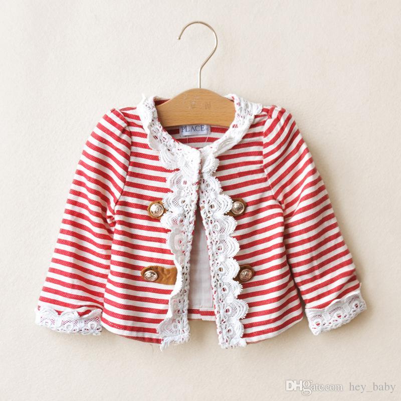New Girls Stripe Crochet Lace Cardigan Kids Spring Fashion Flower ...