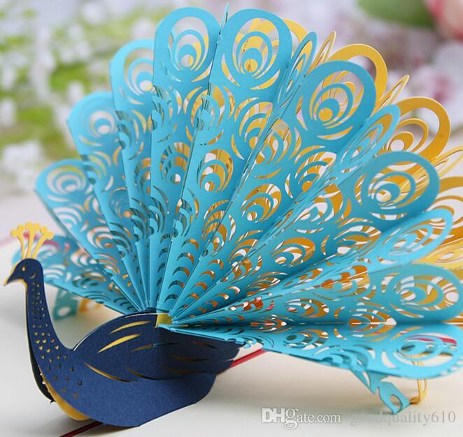 10pcs hollow peacock handmade kirigami origami 3d pop up greeting cards invitation postcard for birthday wedding party gift - Peacock Wedding Invitations
