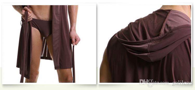 robe d'été bain peignoir N2N robe hommes sexy vêtements de nuit hommes peignoir à capuche de soie mens pyjama de baignade