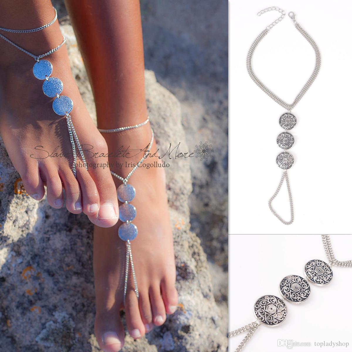 Silver Color Stylish Bohemian vintage engraved metal ID with anklet Ankle Bracelet For Women Jewelry Summer Style