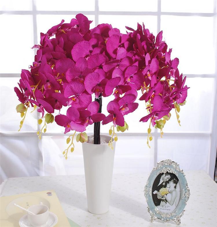Soie Phalaenopsis Moth Orchidées Orchidée fleur artificielle 6 couleurs disponibles pour le mariage de fleur photographie Props fleurs décoratives