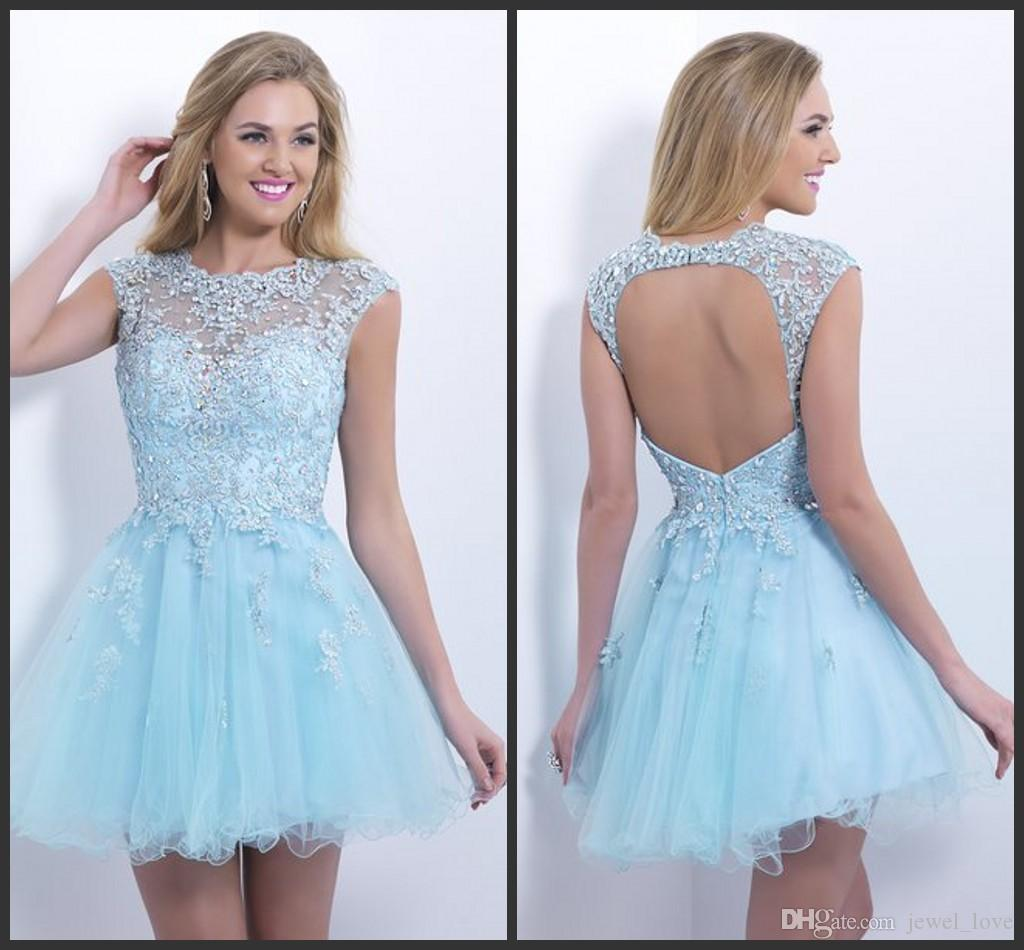 60d85922490 2015 Sky Blue Prom Dress Jewel Neck Applique Beading Backless Puffy Short  Mini Tulle Capped Sleeves Party Dresses Gowns Homecoming Dresses Gold  Homecoming ...