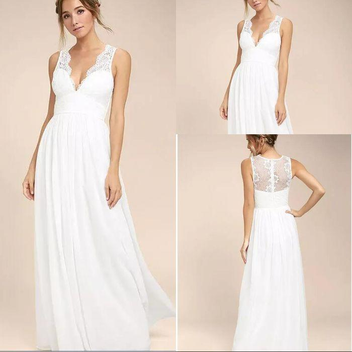 e5cb55b4d43 Discount 2018 Spring Summer Bohemian Simple White A Line Wedding Dresses V  Neck Sheer Long Wedding Guest Gowns Bridesmaid Dresses Second Wedding  Dresses ...