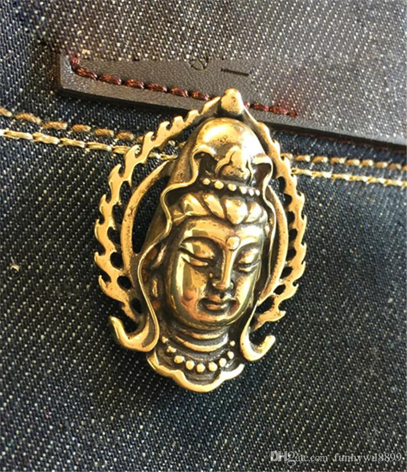 Brass Bhodisattva Biker Wallet Chain Connector Clothing Decorate Concho Solid Cosplay Wallet Chain Decorative buckle Gift