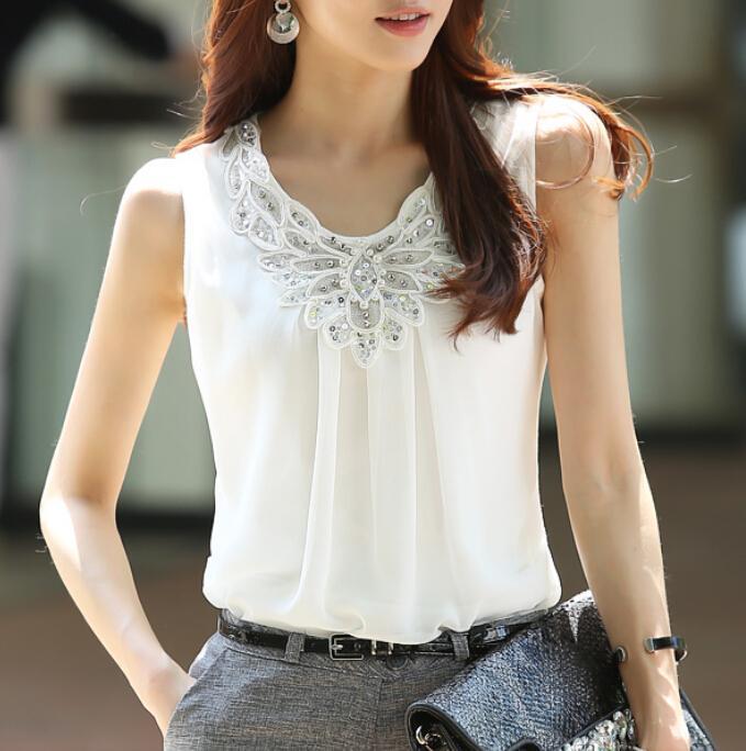 1589e971 2015 Summer Women Blouse shirts Ladies Casual Sleeveless Sparkling diamond chiffon  lace blouses Plus Size women