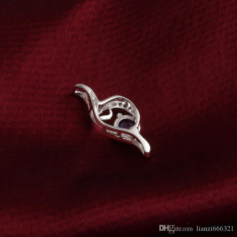 Frete grátis moda de alta qualidade 925 anjo de prata com diamante Roxo jóias 925 colar de prata Presentes do feriado do Dia Dos Namorados Quente 1692