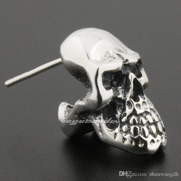 ضخمة الثقيلة 925 الفضة الاسترليني الجمجمة رجل السائق الروك مربط القرط 8R020A