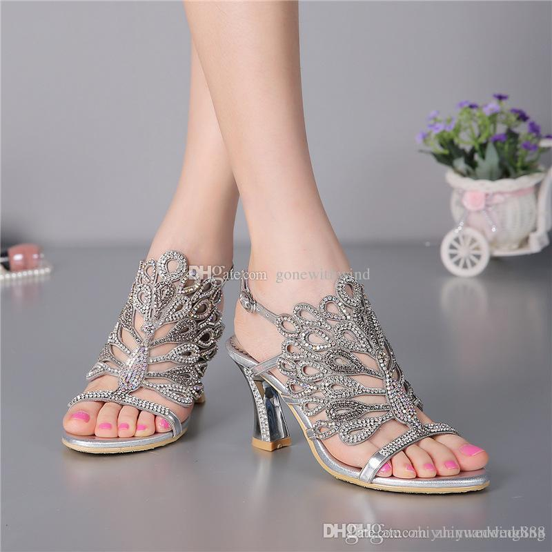 1639042313b9a 10 Models Ladies Crystal Sandals Wedding Shoes Bridal Pumps Sandals Shoes  For Wedding Prom Party Evening Women Wedding Party Dresses Dyeable Shoes  Payless ...