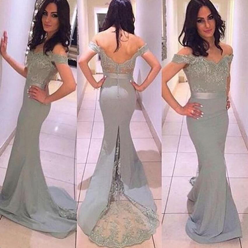 Cinza Fora do ombro Árabe Sereia Vestido de Noite Vestido de Baile 2016 Backless Formal Partido Tapete Vermelho Celebridade Vestidos Robe De Soiree
