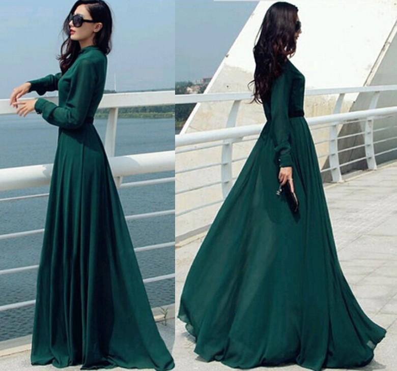 Vestido Longo 2017 Vintage Elegant Casual Lady Long Button Party Cocktail Maxi  Shirt Dress Kaftan Abaya Green Dress Tunics OXL092401 ffe8fc7e9