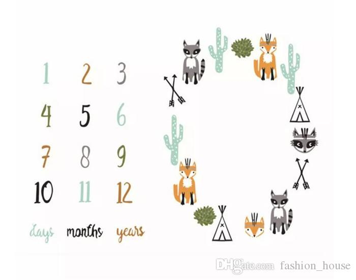 INS Baby Photography Background Props Animal Digital Backdrops Newborn Lovely Printed Photo Fox Blanket Infant Photo Mat A08