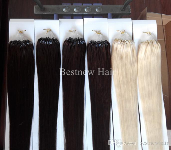 Silk Straight первоклассный Remy индейца Micro Ring / Loop 100% человеческих волос Цвет # 2 # 4 # 613 1G / S 100S