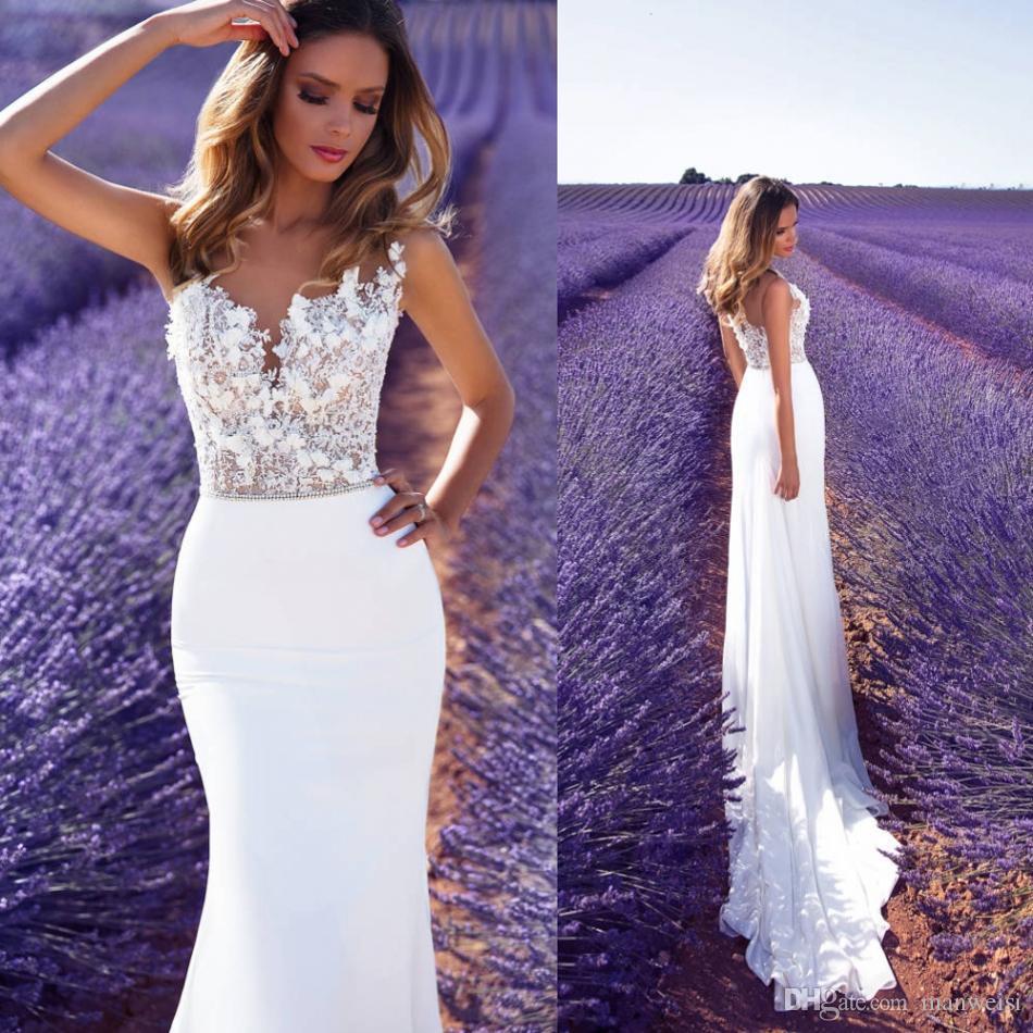 2018 New Milla Nova Mermaid Wedding Dresses Sexy Sheer Jewel Neck ...