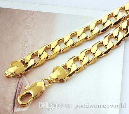 лучше всего купить изысканные ювелирные изделия YellowGold тяжелые! Бесплатная доставка классические мужские 18K желтое твердое золото GF ожерелье цепь 23.6 в