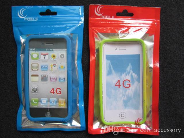 10x18CM universal colorido de la cremallera de plástico paquete al por menor Embalaje bolsa de plástico para Iphone 4 4S 4G 5 5S 5C dura de cuero de la cubierta de silicona de la bolsa