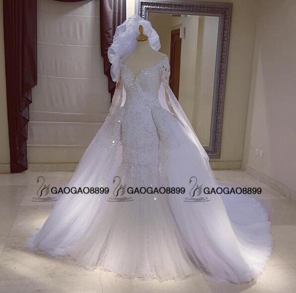 2019 전체 레이스 페르시 인어 탈착식 기차 웨딩 드레스 긴 소매 두바이 아랍어 kaftan 스타일 스커트 웨딩 드레스