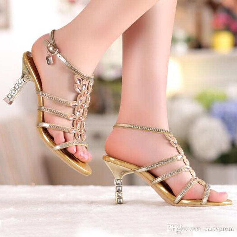 Sandal Floral Gold Sky Blue Colors Rhinestones High Heels Prom Evening Party Shoes Dress For Women Lady Bridal Wedding Shoes
