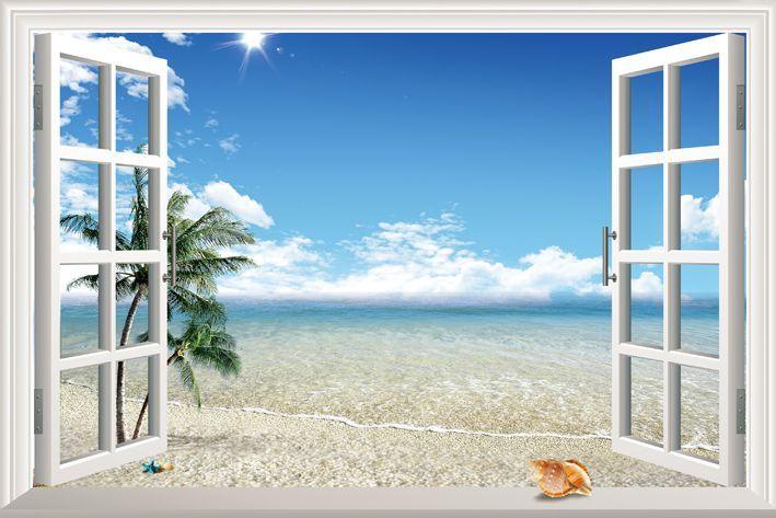 Diy Window Scenery Outside Fake Windows Sticker 120*80cm Sofa ...