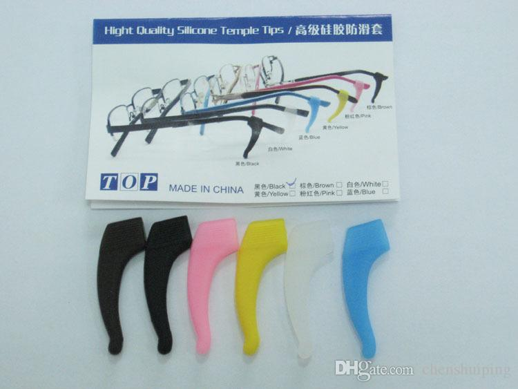Anteojos Gancho para la oreja Gafas para gafas Silicone Temple Tip Holder Gafas para anteojos de alta calidad antideslizantes oreja de silicona