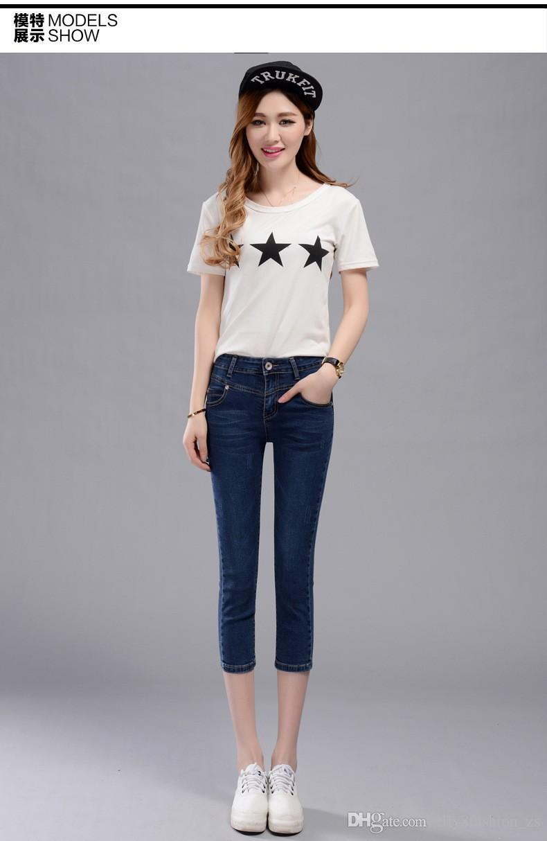 New Casual Korean Style Women Calf Length Pants Mid Waist Lady Fashion Pencil Jean Washed Skinny