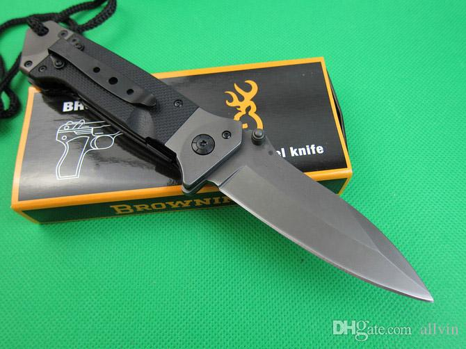 Brown ning Da35 Survival Folding knife 8Cr14 58HRC Titanium blade knife Outdoor Tactial Knives With Original Retail Box Package