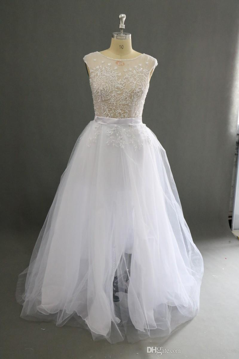 Charming Paolo Sebastian White Wedding Dresses Front Split Puffy Skirt Satin Sash Crew Beaded See Through Sexy Bridal Gowns