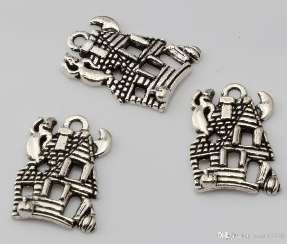 Hot ! Fashion Antique Silver Zinc Alloy *CUTE HAUNTED HOUSE GHOST* Charms Pendant 14*20mm DIY Jewelry