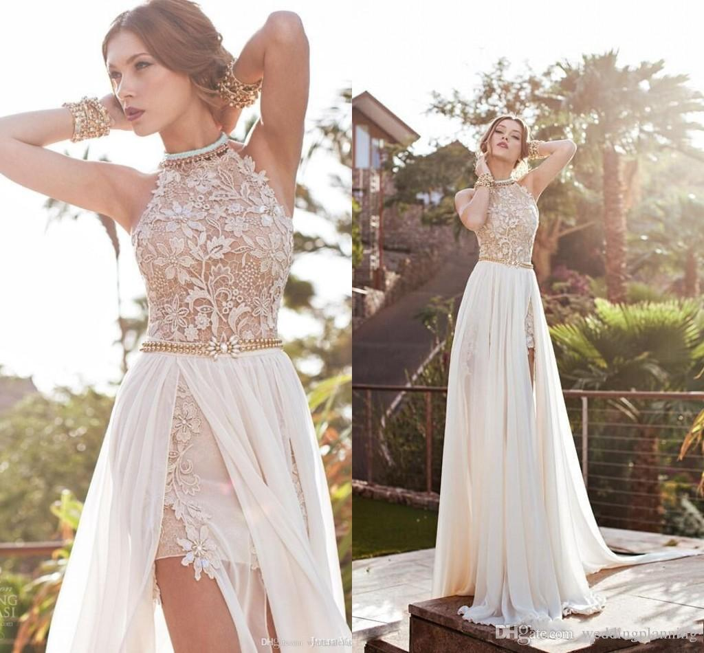 discount luxury cheap high neck backless wedding dresses split