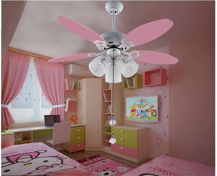 2018 wholesale cute pink ceiling fan light kids room 051 for Ceiling light for kids room