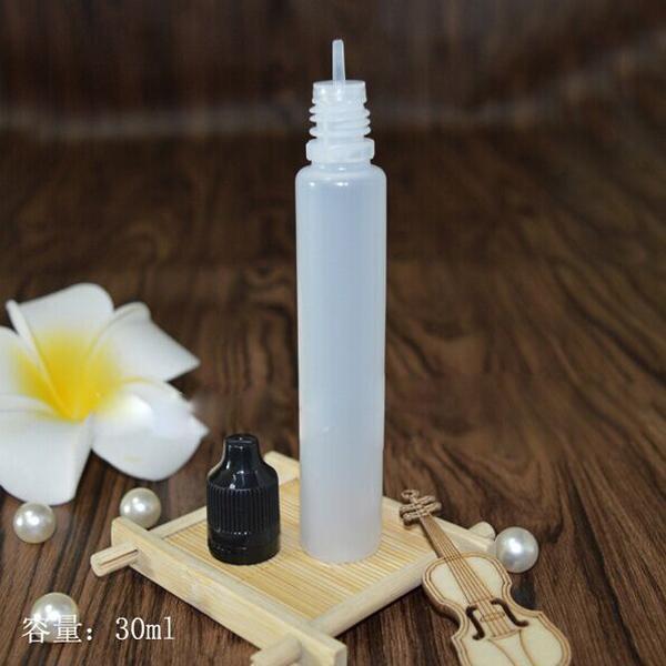 Nieuwste stijlfles 30 ml pe druppelaar flessen eliquid plastic lege olie e-vloeibare pen vorm fles met kinderproof tamper lange dunne tip