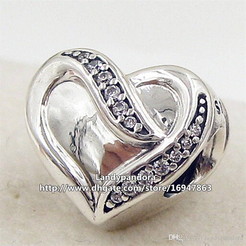 2016 nieuwe 925 sterling zilveren lint van liefde charme kraal met heldere CZ past Europese Pandora sieraden armbanden kettingen hanger