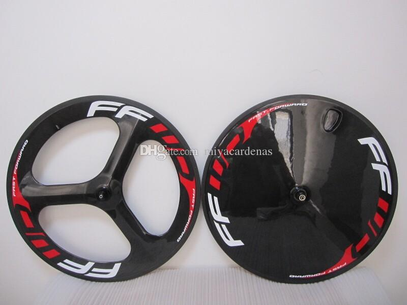 boru şeklindeki arka tekerlek parlak / mat bitirme FFWD karbon fiber yol / pist bisikleti ÖN 3 Jant bisiklet disk tekerlek