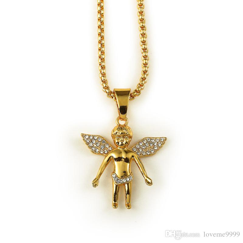 18K Real Gold Plated Men's hip hop Boy angel crystal wing Pendant Necklace 80cm Long High Quality Rock Hiphop Big Necklace men Chain