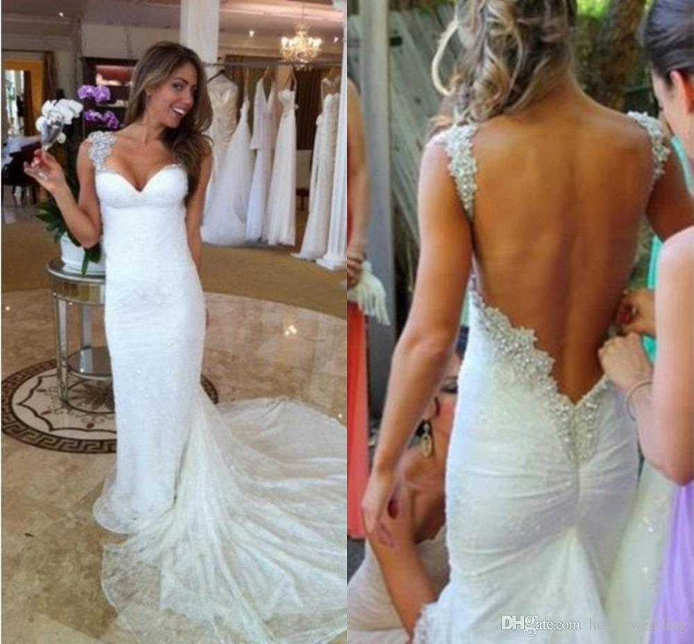 Ivory beach mermaid open back vintage lace wedding dresses online ivory beach mermaid open back vintage lace wedding dresses online 2016 spaghetti beaded straps court train fitted bridal gowns custom made mermaid gown plus junglespirit Image collections
