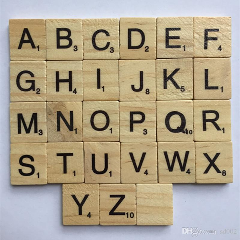 Wooden Alphabet Scrabble Tiles Kids Intelligence Development Multi Function Baby Literacy Puzzle Block High Quality 7xp C R