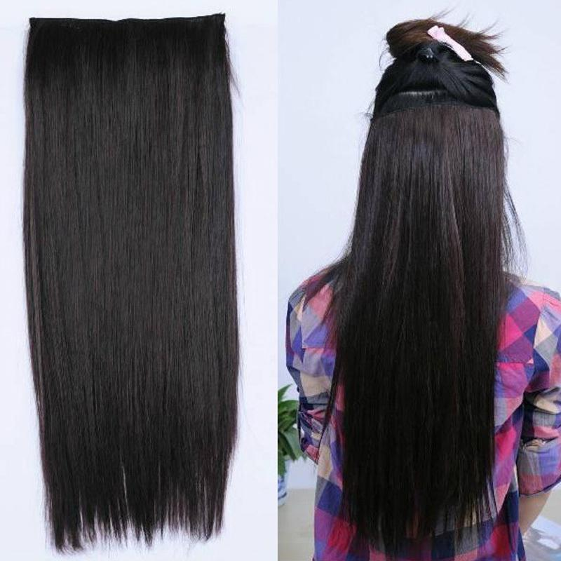 Fashion Women Long Hair Extensions Straight Synthetic Clip In On