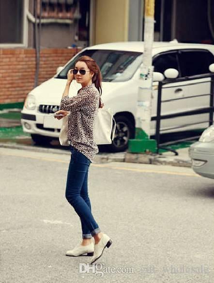فتاة الموضة الكورية الوافدة الجديدة عام 2016 تطبع بلوزة طويلة الكم / قمم شيفون حريرية