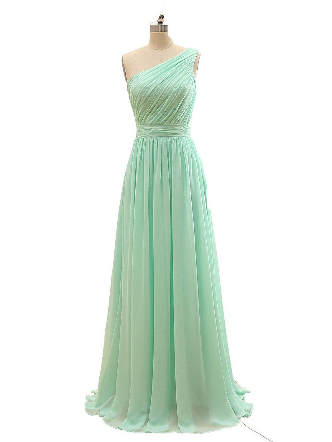 be9bb57aa0d New Arrival A Line Chiffon One Shoulder Bridesmaid Dresses 2018 Long Pleated  Floor Length Formal Party Gowns Bridesmaid Dresses 2018 Bridesmaid Dresses  ...