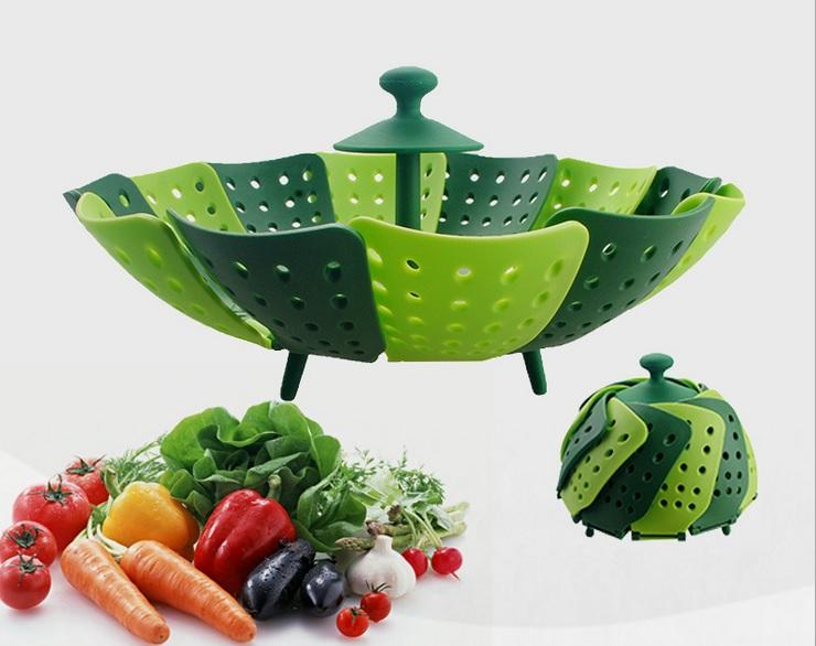 Latest Kitchen Tools Part - 47: Lotus Plus Folding Non Scratch Steamer Basket Green And Grey Silicone And  Nylon Plastic Material Draining